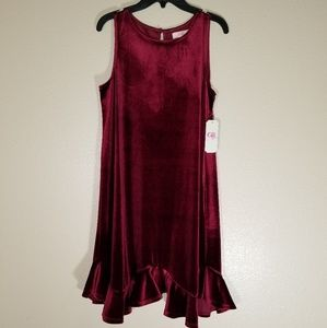 GB Girls Red Velvet Sleeveless Dress